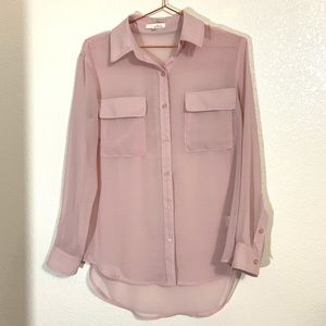 Lush | Pale Pink Sheer Button Down High Low Blouse